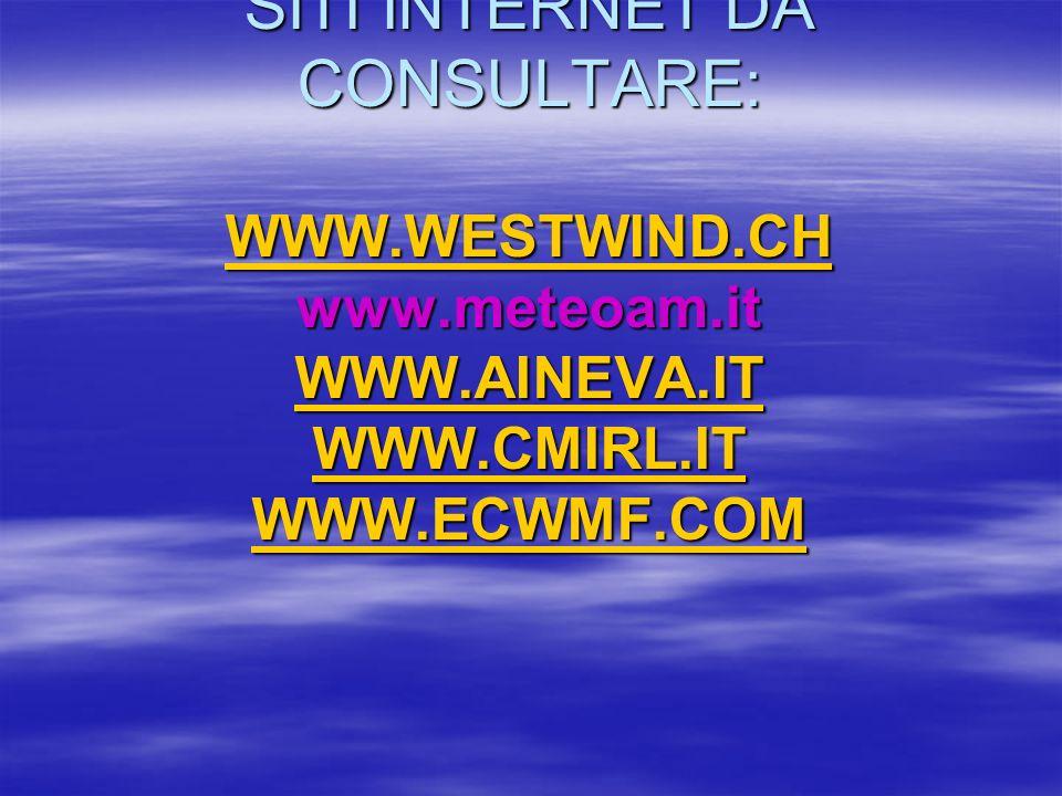 SITI INTERNET DA CONSULTARE: WWW. WESTWIND. CH www. meteoam. it WWW