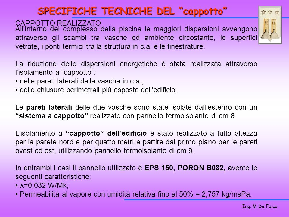 SPECIFICHE TECNICHE DEL cappotto