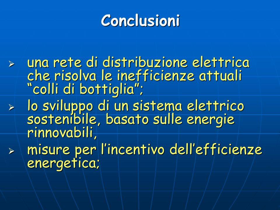 Conclusioni una rete di distribuzione elettrica che risolva le inefficienze attuali colli di bottiglia ;