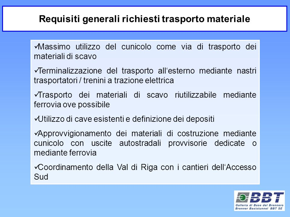 Requisiti generali richiesti trasporto materiale