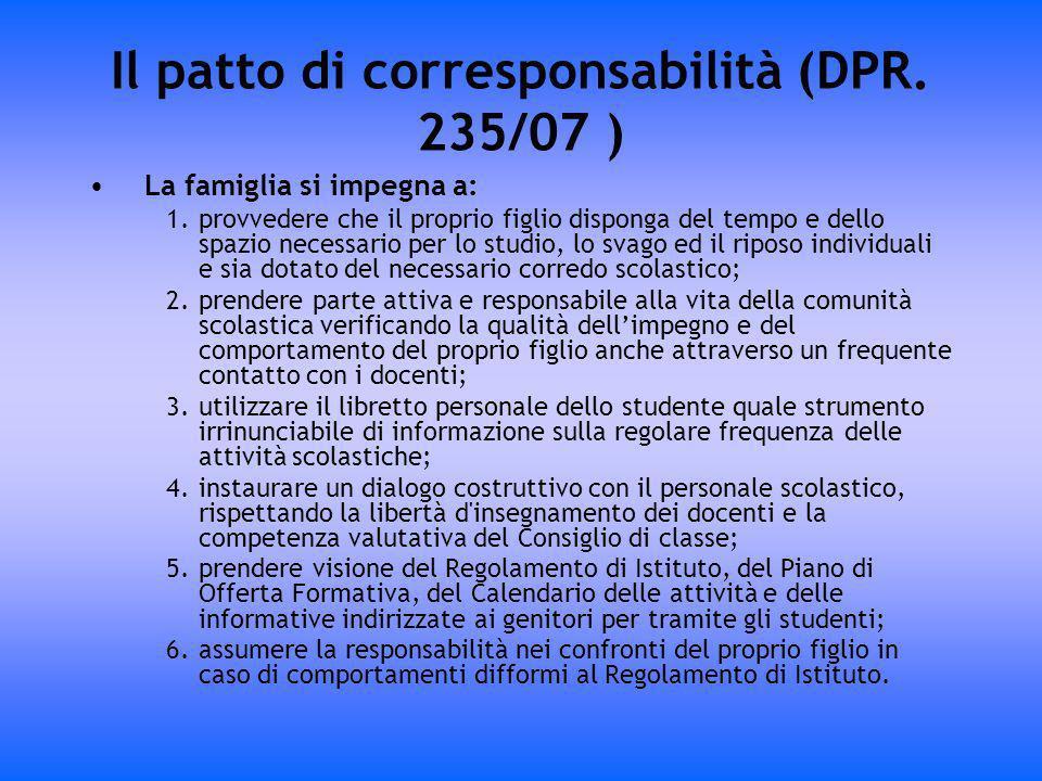 Il patto di corresponsabilità (DPR. 235/07 )