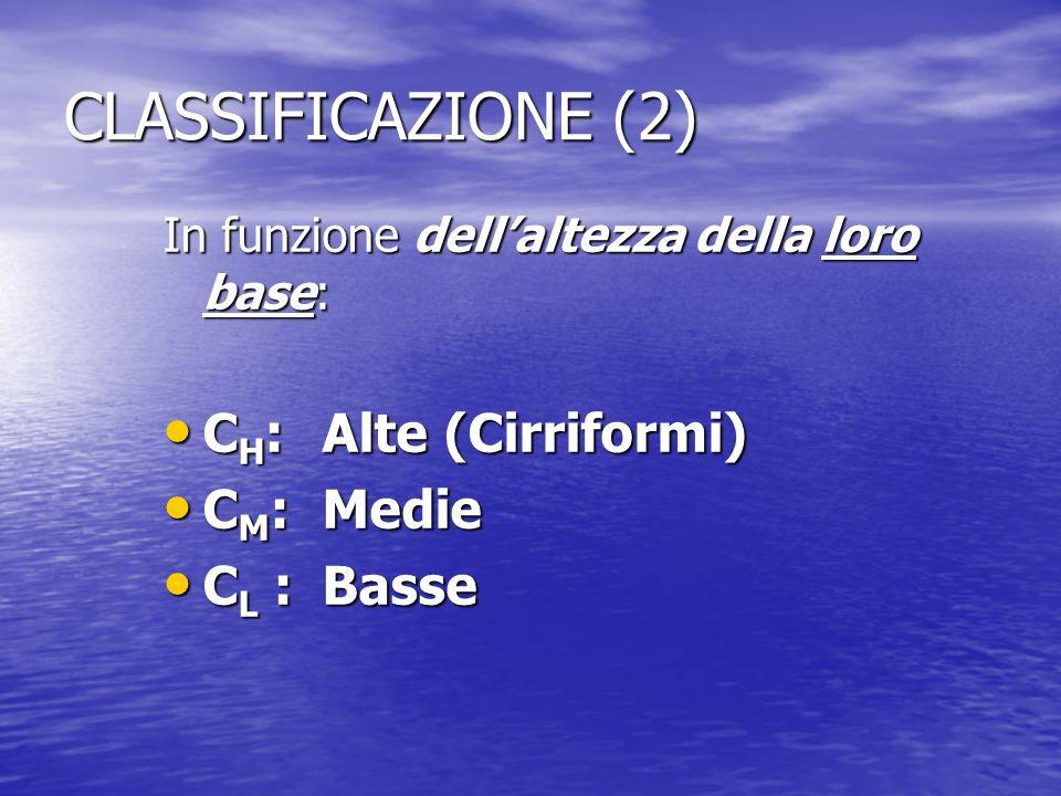 CLASSIFICAZIONE (2) CH: Alte (Cirriformi) CM: Medie CL : Basse