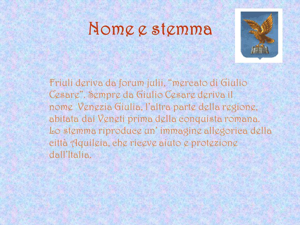 Nome e stemma Friuli deriva da forum julii, mercato di Giulio Cesare . Sempre da Giulio Cesare deriva il.