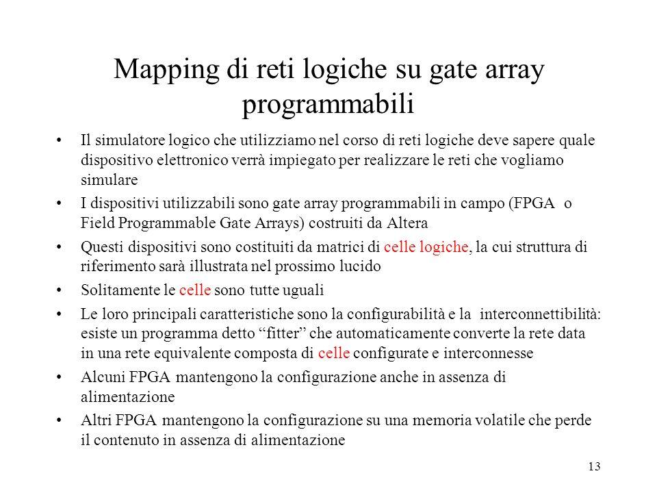 Mapping di reti logiche su gate array programmabili
