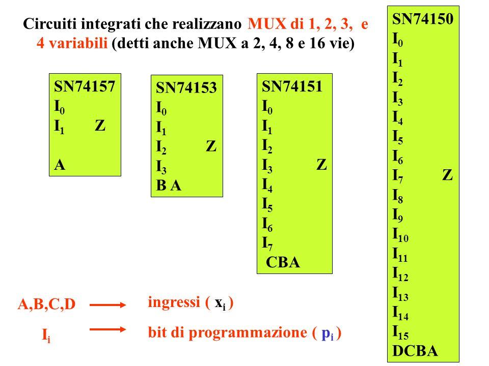 Circuiti integrati che realizzano MUX di 1, 2, 3, e 4 variabili (detti anche MUX a 2, 4, 8 e 16 vie)