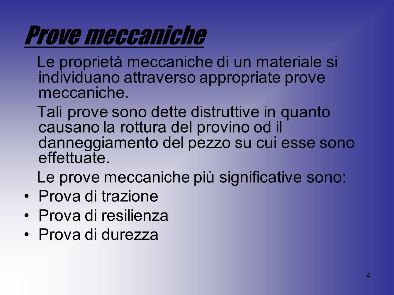 Prove meccaniche Le proprietà meccaniche di un materiale si individuano attraverso appropriate prove meccaniche.