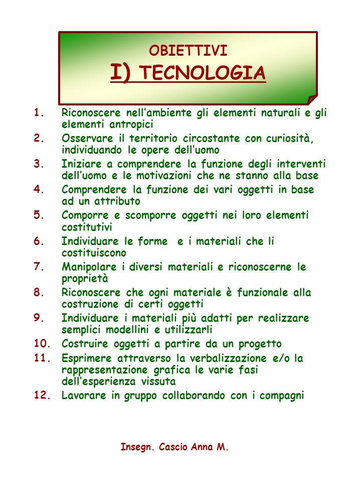 OBIETTIVI I) TECNOLOGIA
