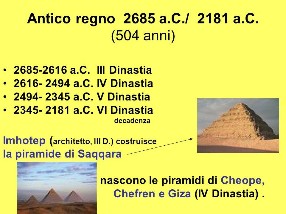 Antico regno 2685 a.C./ 2181 a.C. (504 anni)