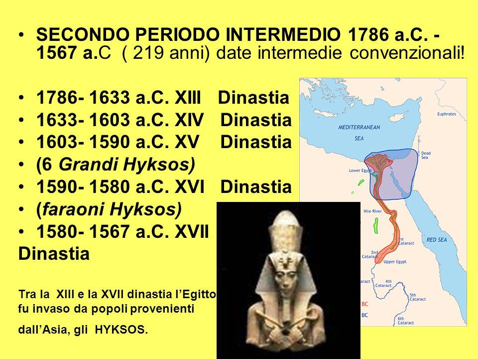 SECONDO PERIODO INTERMEDIO 1786 a. C. - 1567 a