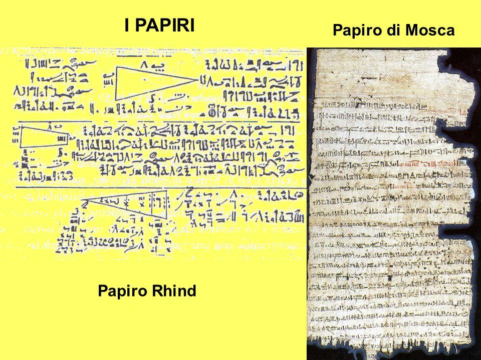 I PAPIRI Papiro di Mosca Papiro Rhind