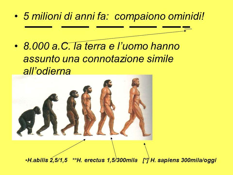 5 milioni di anni fa: compaiono ominidi!