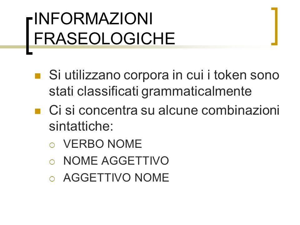 INFORMAZIONI FRASEOLOGICHE
