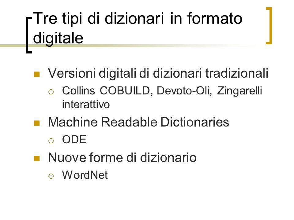 Tre tipi di dizionari in formato digitale