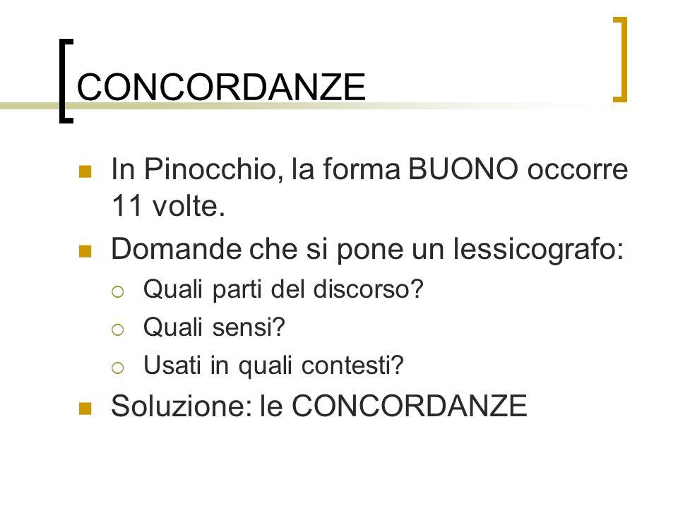 CONCORDANZE In Pinocchio, la forma BUONO occorre 11 volte.