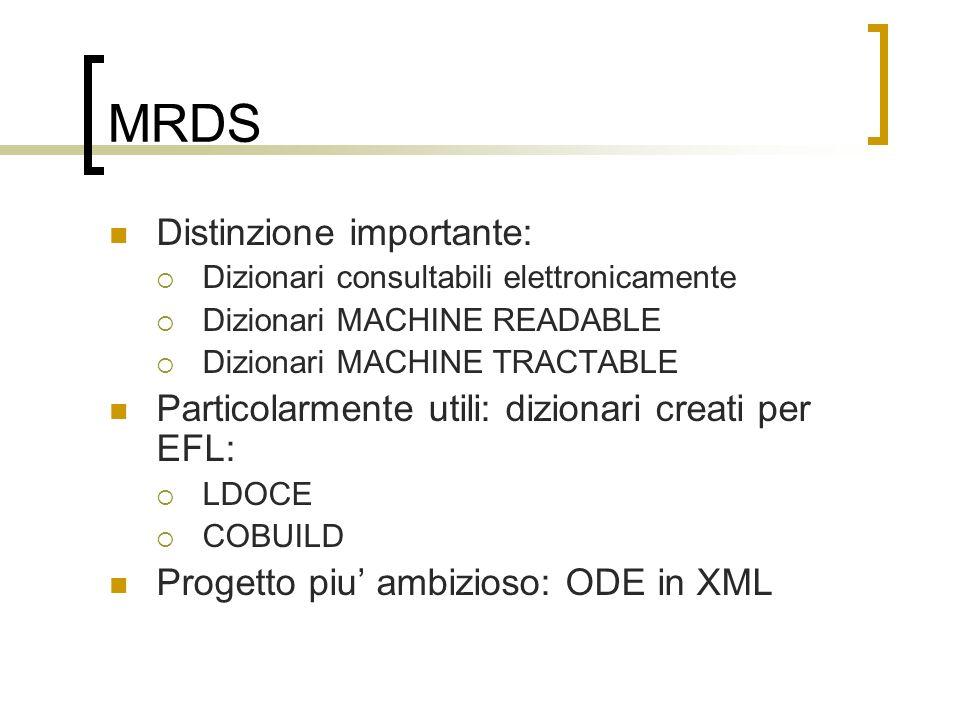 MRDS Distinzione importante: