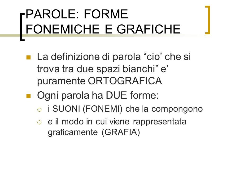 PAROLE: FORME FONEMICHE E GRAFICHE