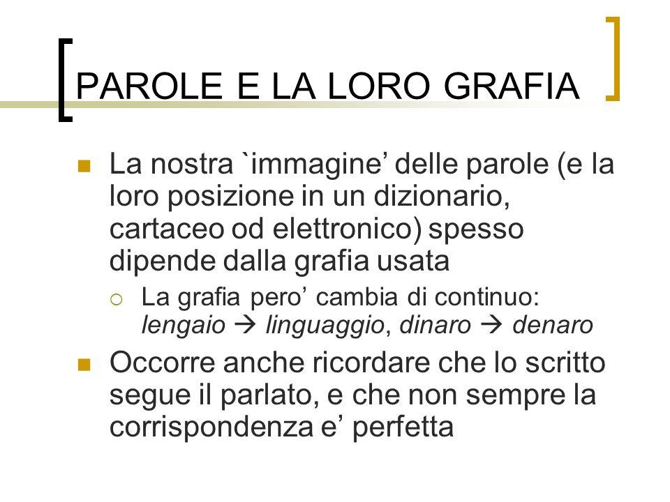 PAROLE E LA LORO GRAFIA