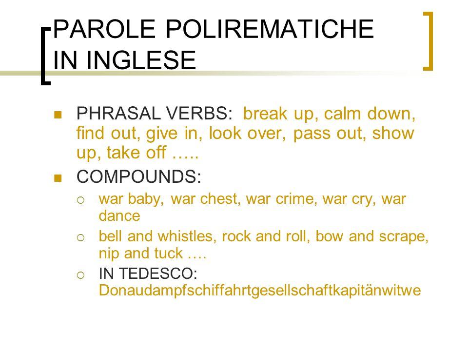 PAROLE POLIREMATICHE IN INGLESE