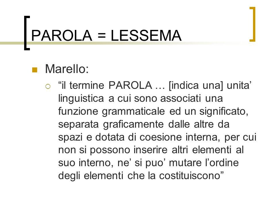 PAROLA = LESSEMA Marello: