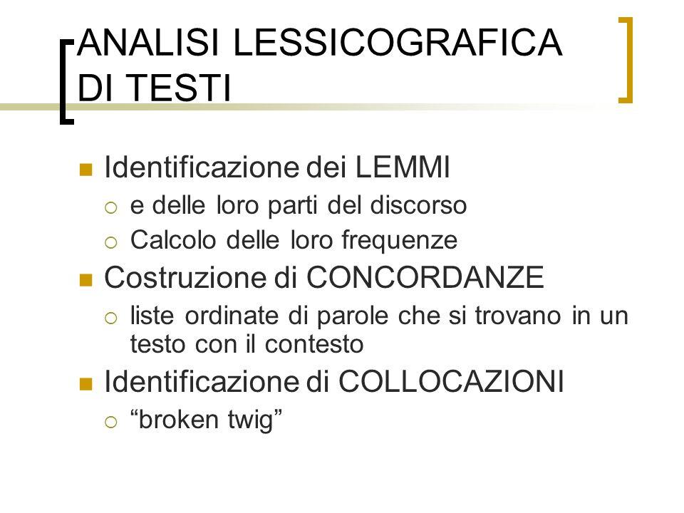 ANALISI LESSICOGRAFICA DI TESTI