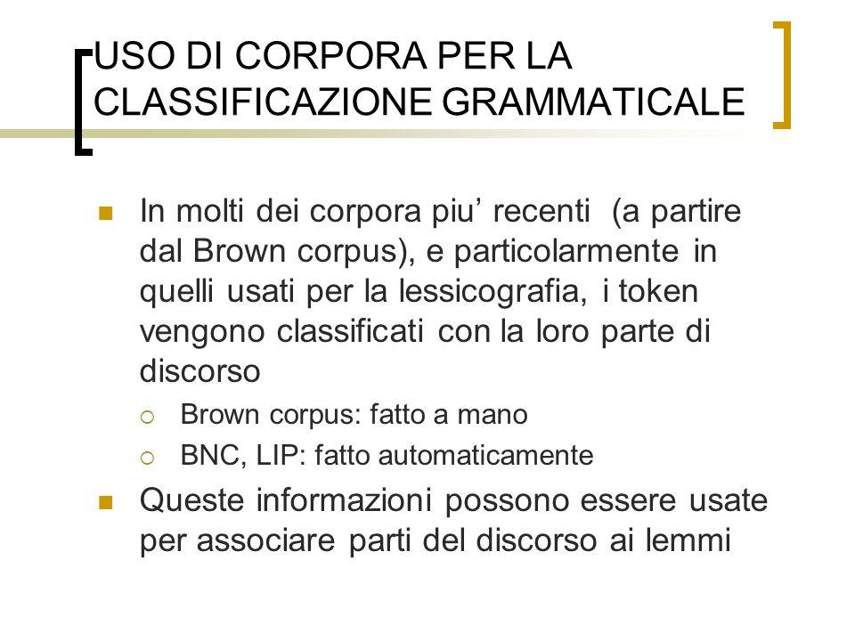 USO DI CORPORA PER LA CLASSIFICAZIONE GRAMMATICALE