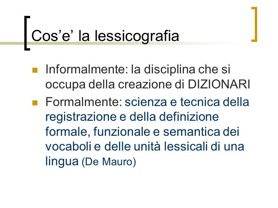 Cos'e' la lessicografia