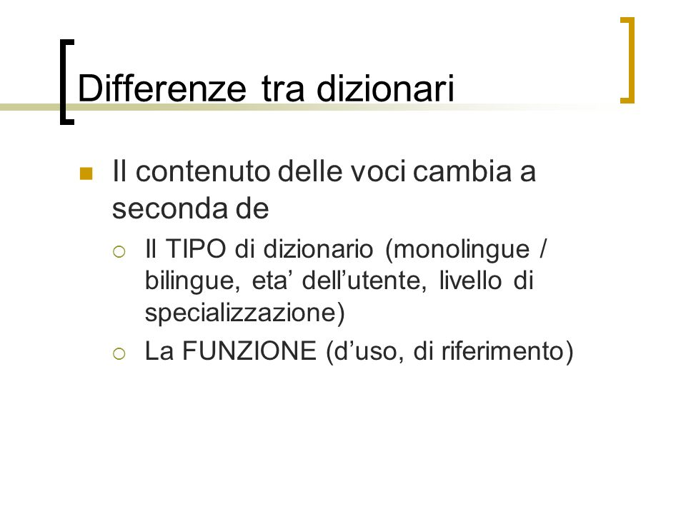 Differenze tra dizionari
