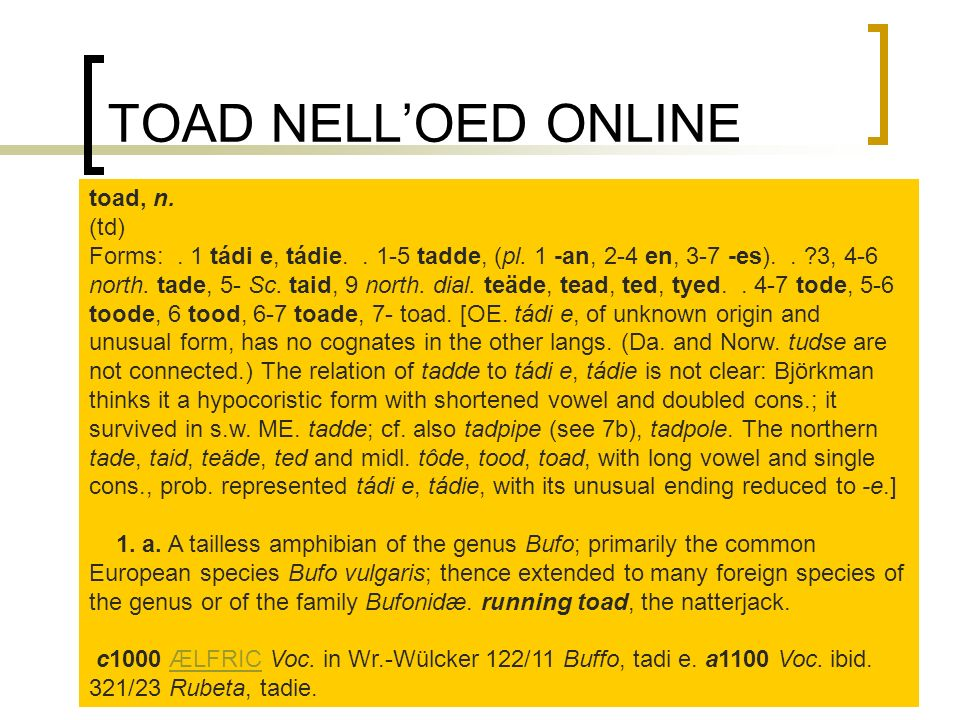 TOAD NELL'OED ONLINE toad, n. (td)