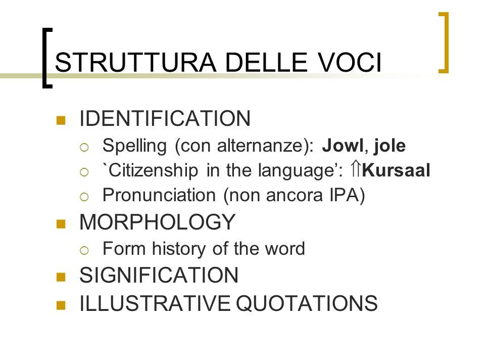 STRUTTURA DELLE VOCI IDENTIFICATION MORPHOLOGY SIGNIFICATION
