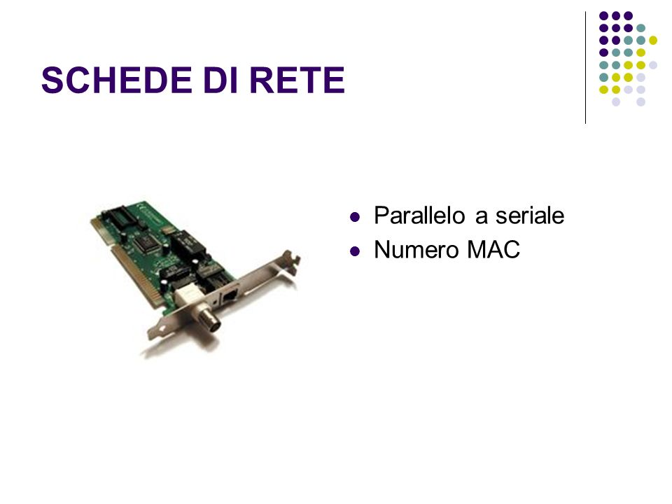 SCHEDE DI RETE Parallelo a seriale Numero MAC