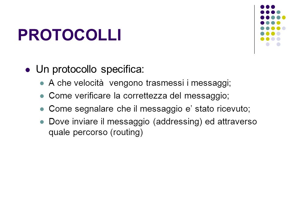 PROTOCOLLI Un protocollo specifica: