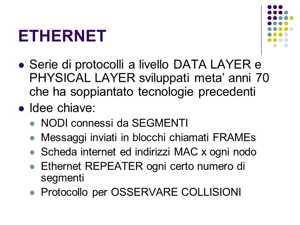 ETHERNET Serie di protocolli a livello DATA LAYER e PHYSICAL LAYER sviluppati meta' anni 70 che ha soppiantato tecnologie precedenti.