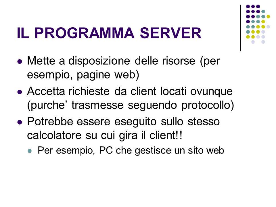 IL PROGRAMMA SERVER Mette a disposizione delle risorse (per esempio, pagine web)