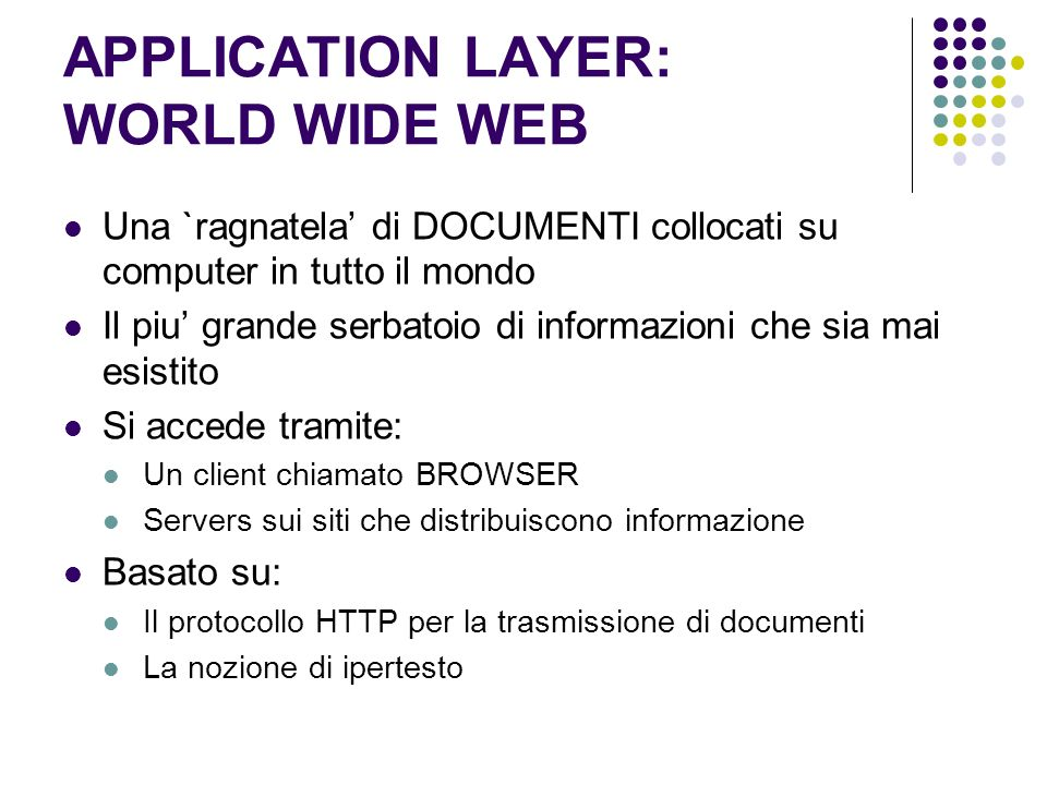 APPLICATION LAYER: WORLD WIDE WEB