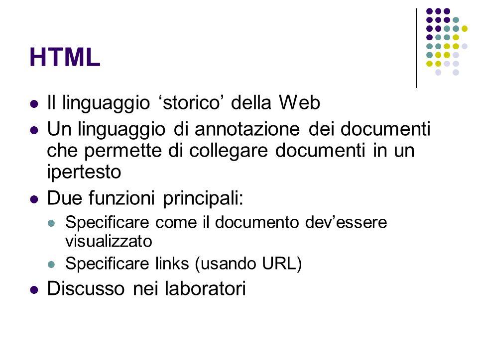 HTML Il linguaggio 'storico' della Web