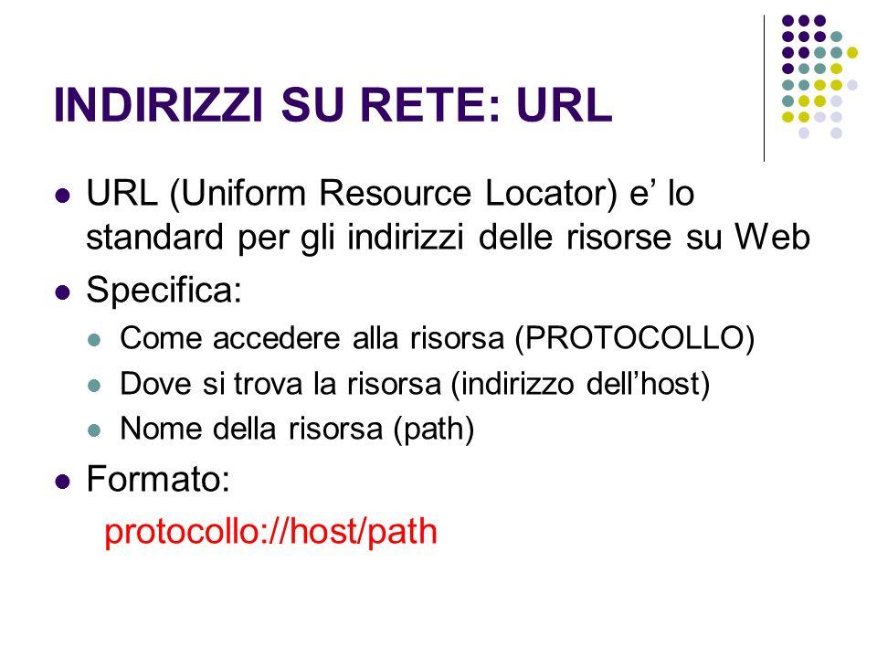 INDIRIZZI SU RETE: URL URL (Uniform Resource Locator) e' lo standard per gli indirizzi delle risorse su Web.