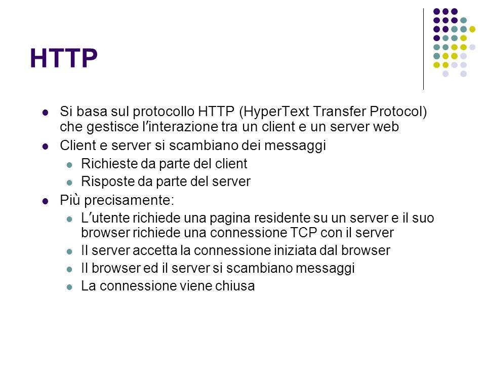 HTTP Si basa sul protocollo HTTP (HyperText Transfer Protocol) che gestisce l'interazione tra un client e un server web.