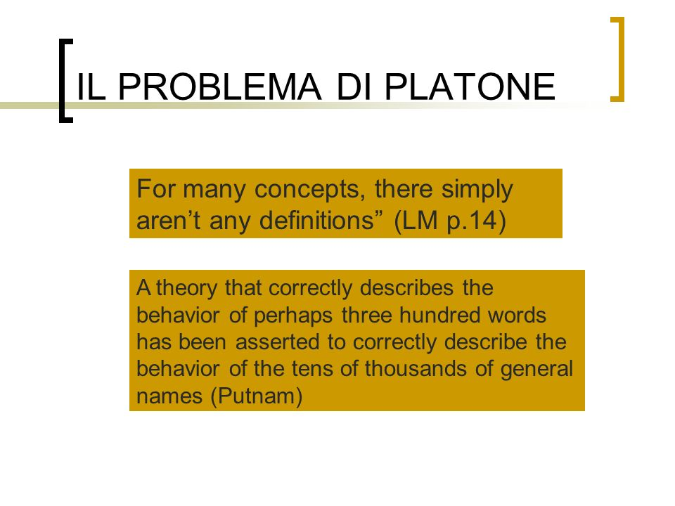 IL PROBLEMA DI PLATONE For many concepts, there simply aren't any definitions (LM p.14)