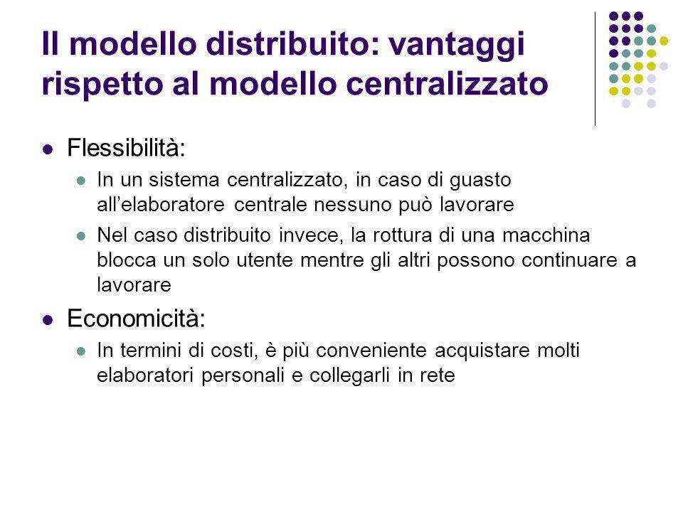 Il modello distribuito: vantaggi rispetto al modello centralizzato