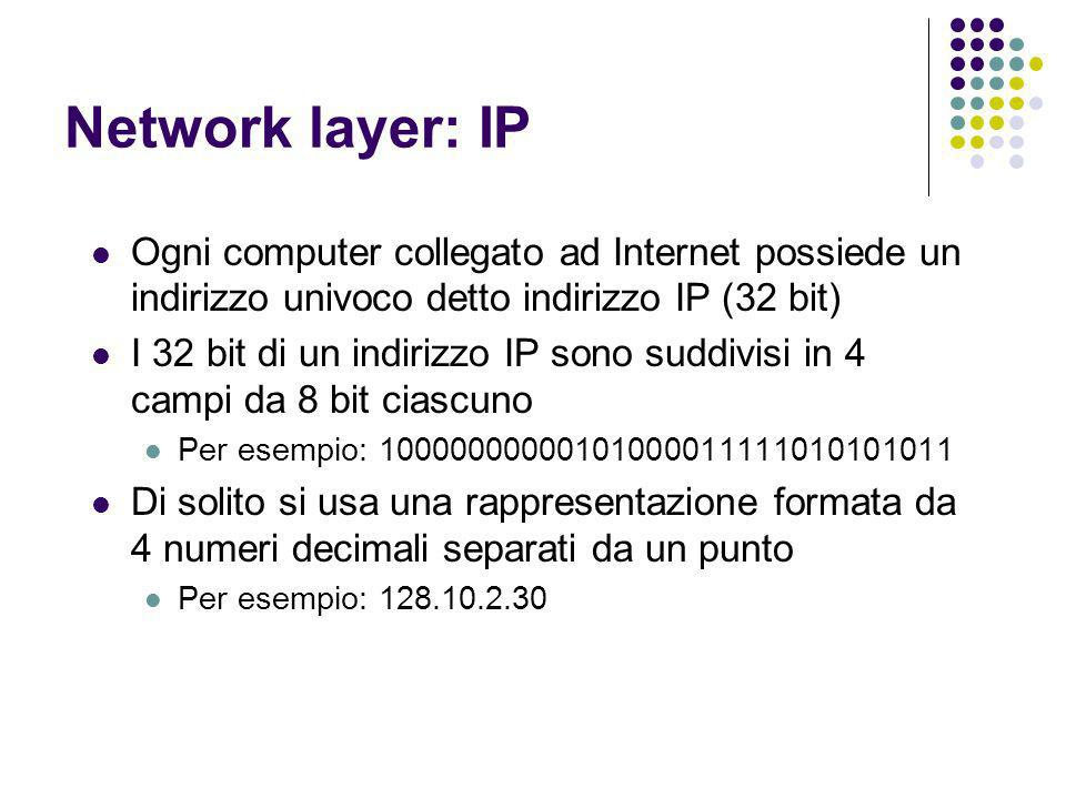 Network layer: IP Ogni computer collegato ad Internet possiede un indirizzo univoco detto indirizzo IP (32 bit)