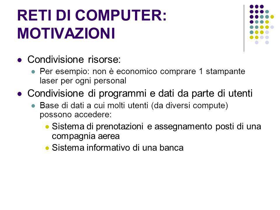 RETI DI COMPUTER: MOTIVAZIONI