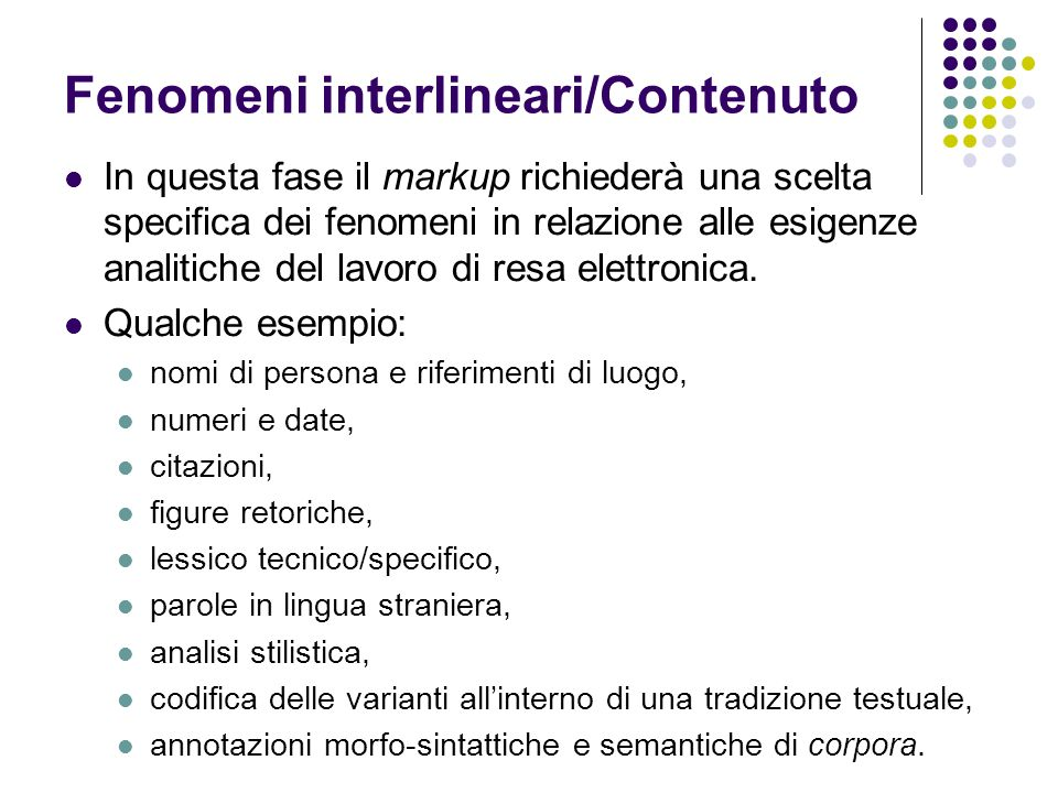 Fenomeni interlineari/Contenuto
