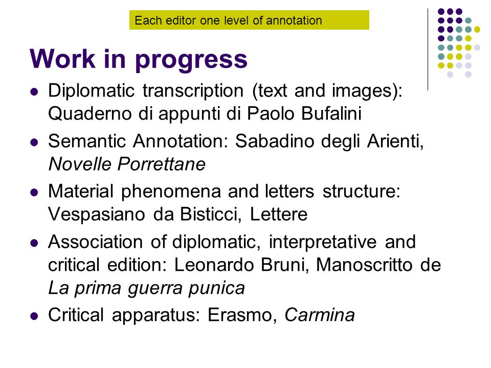 Work in progress Each editor one level of annotation. Diplomatic transcription (text and images): Quaderno di appunti di Paolo Bufalini.