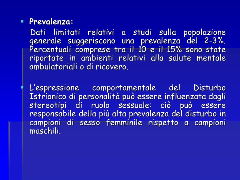 Prevalenza:
