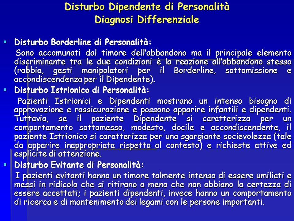 Disturbo Dipendente di Personalità Diagnosi Differenziale