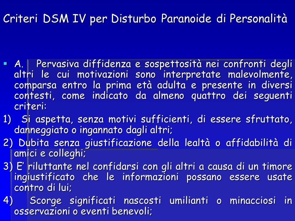 Criteri DSM IV per Disturbo Paranoide di Personalità