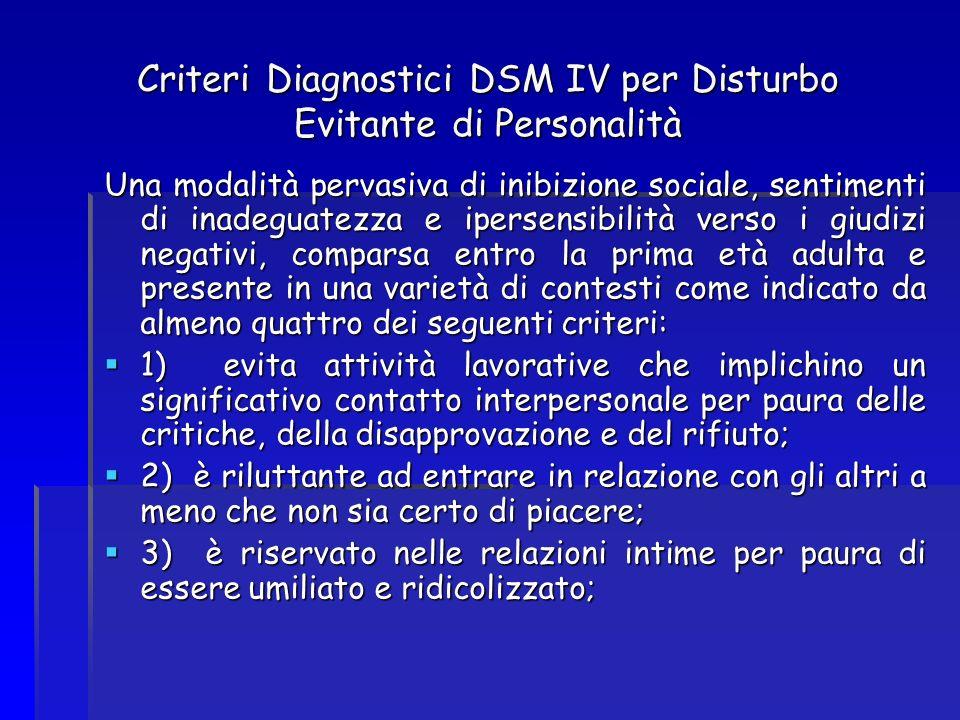 Criteri Diagnostici DSM IV per Disturbo Evitante di Personalità