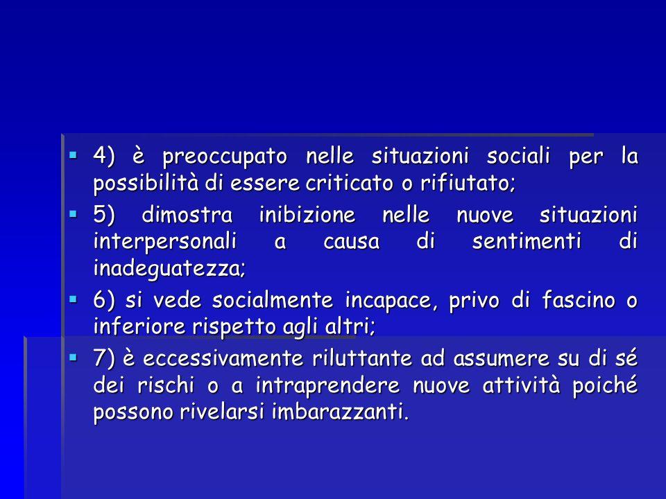 4) è preoccupato nelle situazioni sociali per la possibilità di essere criticato o rifiutato;