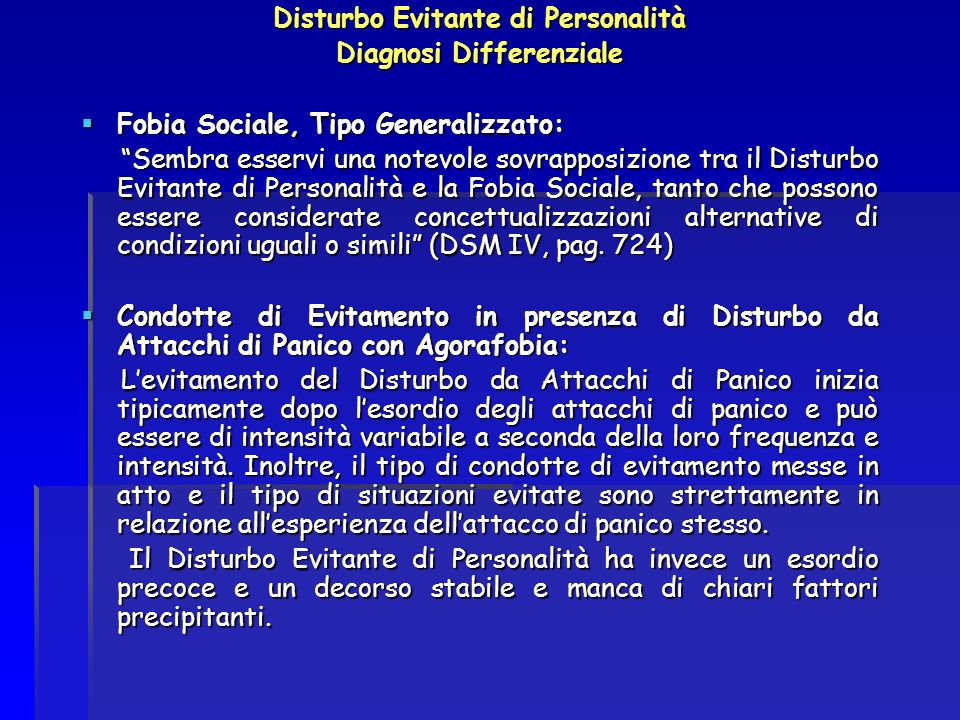Disturbo Evitante di Personalità Diagnosi Differenziale