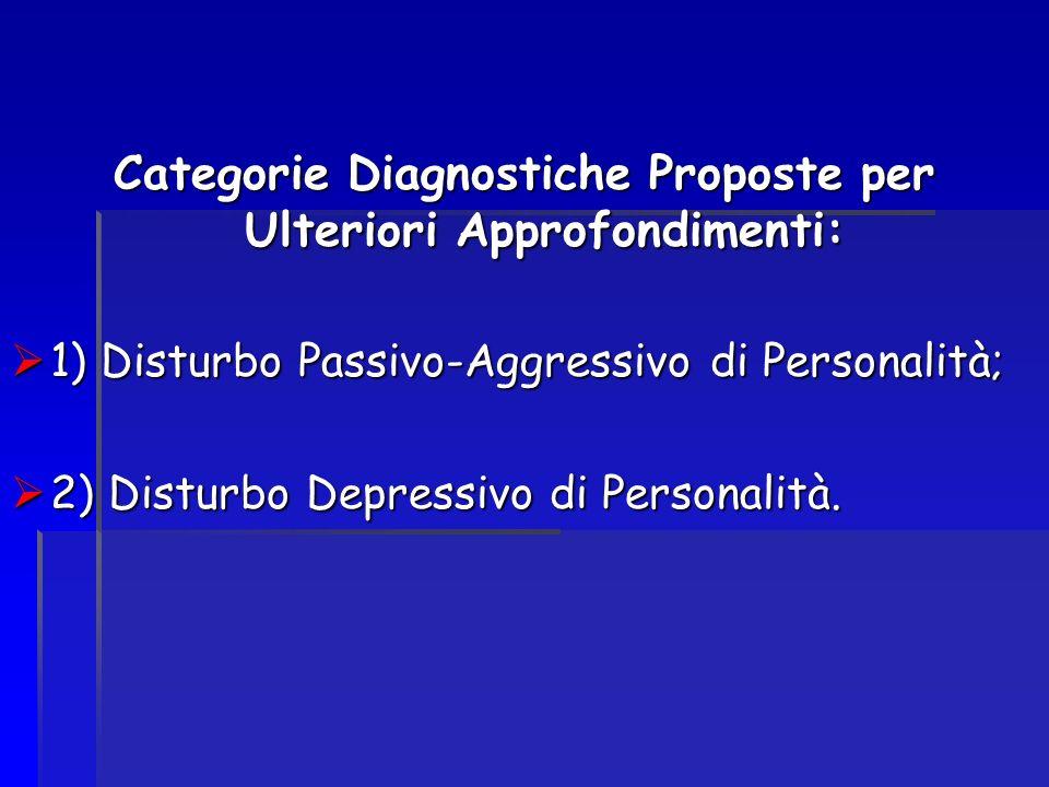 Categorie Diagnostiche Proposte per Ulteriori Approfondimenti: